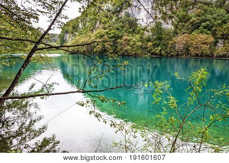Croatian Plitvice national park, natural lake landscape