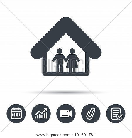 Family icon. Father and mother in home symbol. Calendar, chart and checklist signs. Video camera and attach clip web icons. Vector