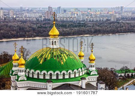Dnieper river architectural view, Kiev city, Ukraine