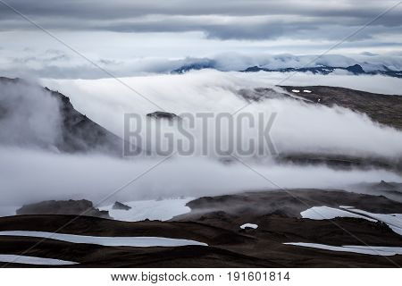 Clouds Slowly Covering Iceland Snowy Mountain Landscape - View From The Slope Of Snaefellsjokull Vol