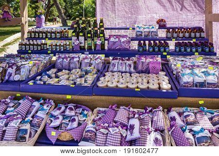 TROGIR, CROATIA - JULY 5 2017: Croatian souvenirs in Trogir