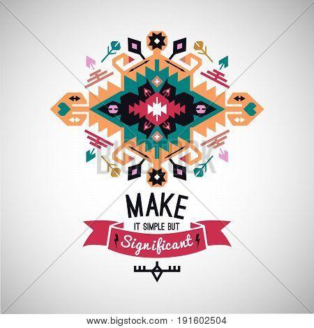 Colorful tribal Navajo style  ornamental geometric logo