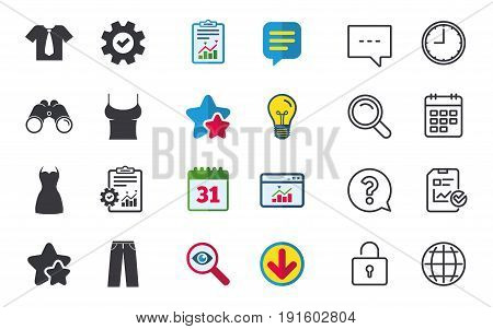 Clothes icons. T-shirt with business tie and pants signs. Women dress symbol. Chat, Report and Calendar signs. Stars, Statistics and Download icons. Question, Clock and Globe. Vector