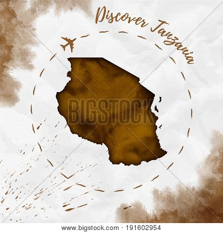 Tanzania Watercolor Map In Sepia Colors. Discover Tanzania Poster With Airplane Trace And Handpainte