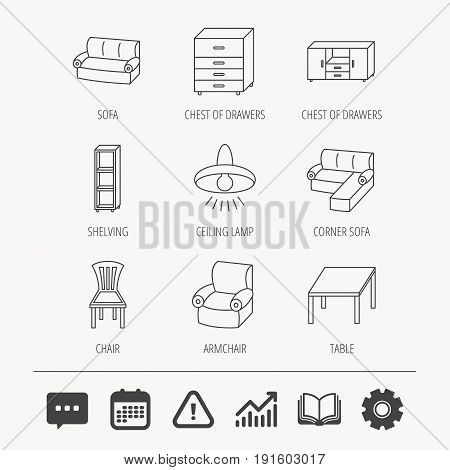 Corner sofa, table and armchair icons. Chair, ceiling lamp and chest of drawers linear signs. Shelving, furniture flat line icons. Education book, Graph chart and Chat signs. Vector