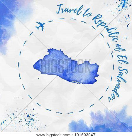 Republic Of El Salvador Watercolor Map In Blue Colors. Travel To Republic Of El Salvador Poster With