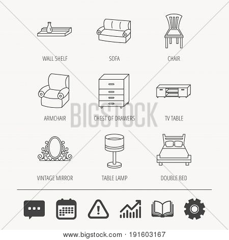 Double bed, table lamp and armchair icons. Chair, lamp and vintage mirror linear signs. Wall shelf, sofa and chest of drawers furniture icons. Education book, Graph chart and Chat signs. Vector