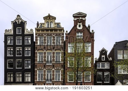 old houses in Amsterdam city, Holland, Netherlands