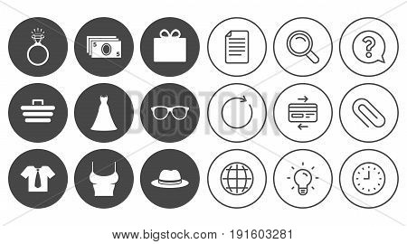Accessories, clothes icons. Shirt with tie, glasses signs. Dress and engagement ring symbols. Document, Globe and Clock line signs. Lamp, Magnifier and Paper clip icons. Vector