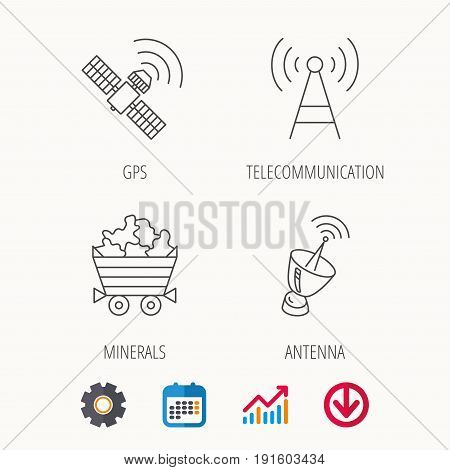 Telecommunication, minerals and antenna icons. GPS satellite linear sign. Calendar, Graph chart and Cogwheel signs. Download colored web icon. Vector