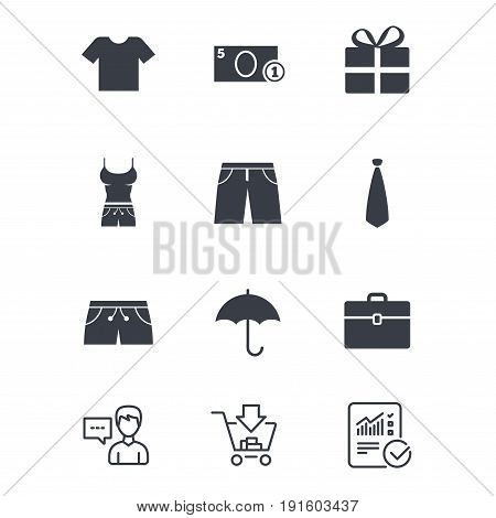 Clothing, accessories icons. T-shirt, business case signs. Umbrella and gift box symbols. Customer service, Shopping cart and Report line signs. Online shopping and Statistics. Vector