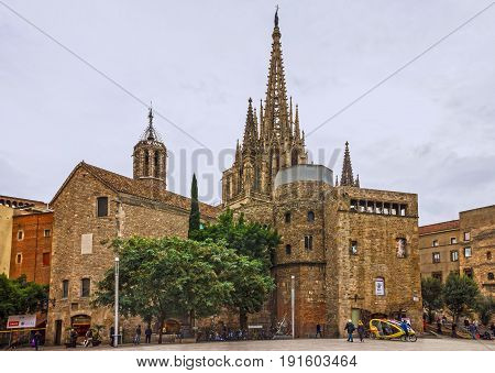 Barcelona, Spain - June 16, 2017: Gothic Cathedral church La Seu, Catalonia, Gothic Quarter.