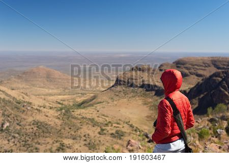 Tourist Standing On Rock And Looking At The Panoramic View In Marakele National Park, One Of The Tra