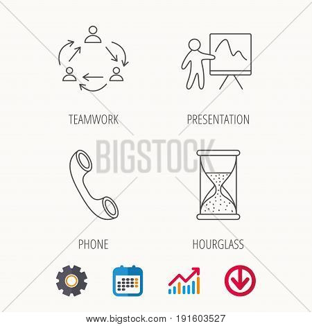 Teamwork, presentation and phone call icons. Hourglass linear sign. Calendar, Graph chart and Cogwheel signs. Download colored web icon. Vector