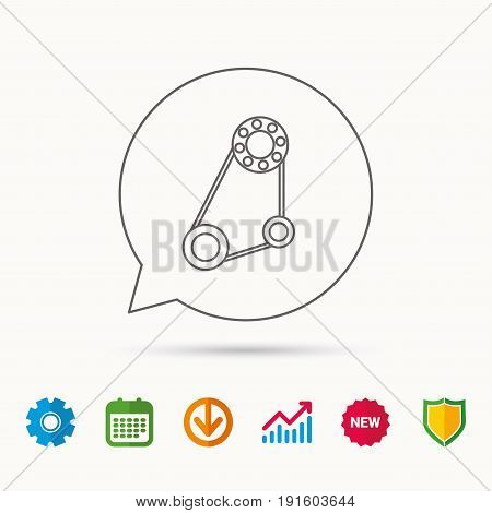Timing belt icon. Generator strap sign. Repair service symbol. Calendar, Graph chart and Cogwheel signs. Download and Shield web icons. Vector