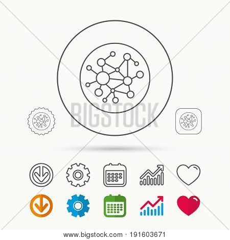 Global network icon. Social connections sign. Calendar, Graph chart and Cogwheel signs. Download and Heart love linear web icons. Vector