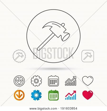 Hammer icon. Repair or fix sign. Construction equipment tool symbol. Calendar, Graph chart and Cogwheel signs. Download and Heart love linear web icons. Vector