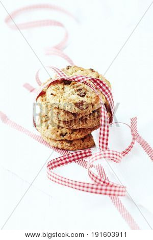 Home made butter cookies with raisins