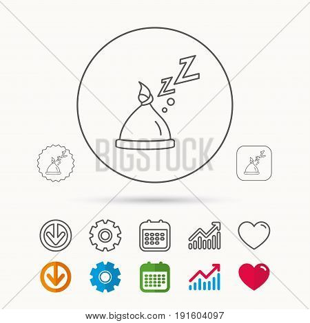Baby hat with nodule icon. Newborn cap sign. Toddler sleeping clothes symbol. Calendar, Graph chart and Cogwheel signs. Download and Heart love linear web icons. Vector