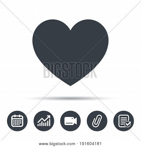 Heart icon. Romantic love symbol. Calendar, chart and checklist signs. Video camera and attach clip web icons. Vector
