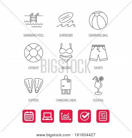 Surfboard, swimming pool and trunks icons. Beach ball, lingerie and shorts linear signs. Lifebuoy, cocktail and changing cabin icons. Report document, Graph chart and Calendar signs. Vector