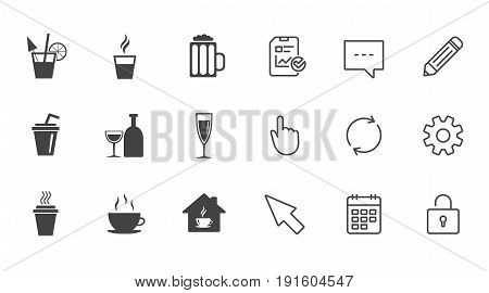 Tea, coffee and beer icons. Beer, wine and cocktail signs. Take away drinks. Chat, Report and Calendar line signs. Service, Pencil and Locker icons. Click, Rotation and Cursor. Vector