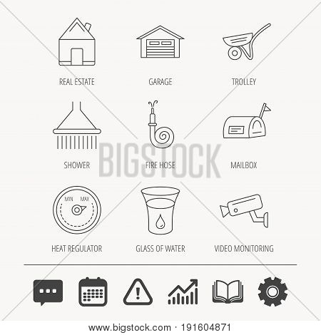 Real estate, garage and heat regulator icons. Trolley, fire hose and mailbox linear signs. Shower, glass of water and video monitoring icons. Education book, Graph chart and Chat signs. Vector