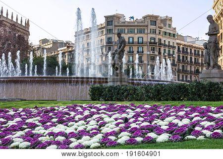 Barcelona, Spain - May 7, 2017: Fontaine on Catalonia square (Placa de Catalunya)