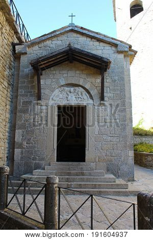 the entrance to the old Church in San Marino