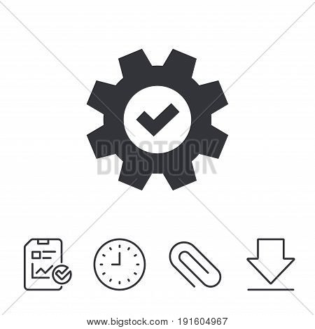 Service icon. Cogwheel with tick sign. Check symbol. Report, Time and Download line signs. Paper Clip linear icon. Vector