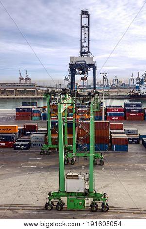 Casablanca, Morocco - May 7, 2017: Container terminal in Casablanca sea port, Morocco
