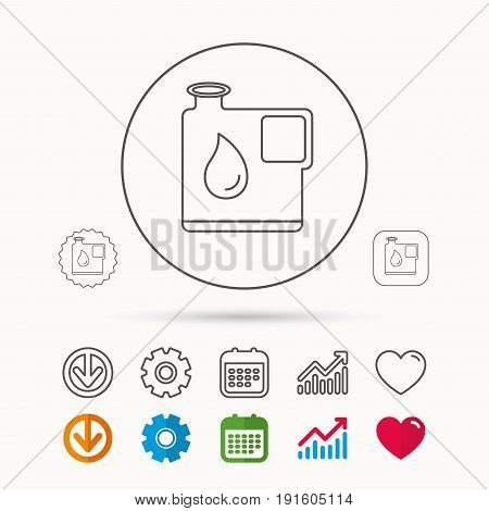 Jerrycan icon. Petrol fuel can with drop sign. Calendar, Graph chart and Cogwheel signs. Download and Heart love linear web icons. Vector
