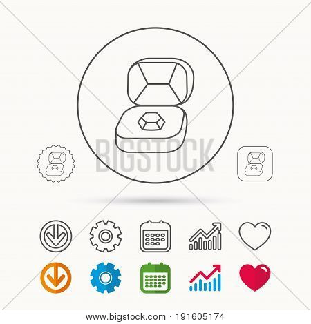 Brilliant jewellery icon. Engagement sign. Calendar, Graph chart and Cogwheel signs. Download and Heart love linear web icons. Vector