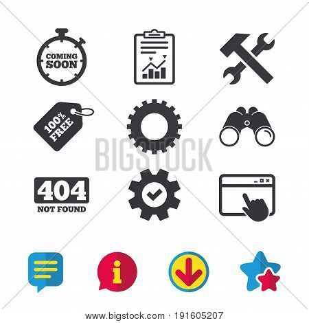 Coming soon icon. Repair service tool and gear symbols. Hammer with wrench signs. 404 Not found. Browser window, Report and Service signs. Binoculars, Information and Download icons. Stars and Chat