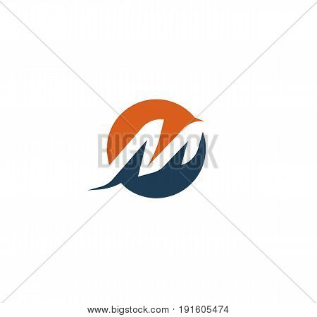 Letter M logo. Abstract isolated vector dynamic shape. Alphabet element sport logotype.