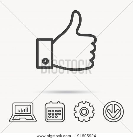 Thumb up like icon. Super cool vote sign. Social media symbol. Notebook, Calendar and Cogwheel signs. Download arrow web icon. Vector