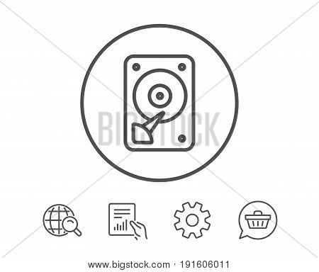 HDD icon. Hard disk storage sign. Hard drive memory symbol. Hold Report, Service and Global search line signs. Shopping cart icon. Editable stroke. Vector