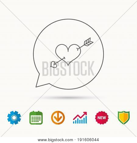 Love heart icon. Amour arrow sign. Calendar, Graph chart and Cogwheel signs. Download and Shield web icons. Vector