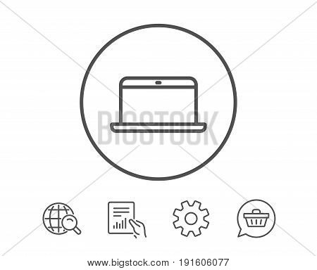 Laptop computer icon. Notebook sign. Portable personal computer symbol. Hold Report, Service and Global search line signs. Shopping cart icon. Editable stroke. Vector
