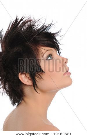 Profile of young woman isolated on a white background