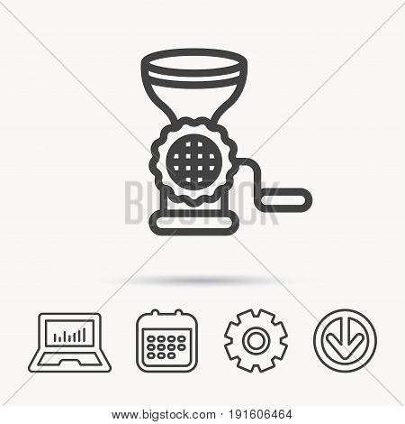 Meat grinder icon. Manual mincer sign. Kitchen tool symbol. Notebook, Calendar and Cogwheel signs. Download arrow web icon. Vector