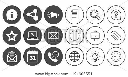 Communication icons. Contact, mail signs. E-mail, information speech bubble and calendar symbols. Document, Globe and Clock line signs. Lamp, Magnifier and Paper clip icons. Vector