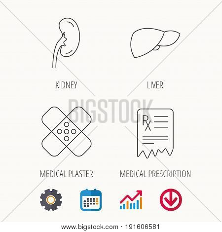Liver, medical plaster and prescription icons. Kidney linear sign. Calendar, Graph chart and Cogwheel signs. Download colored web icon. Vector