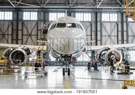 Airbus A320 For Maintenance In The Hangar. Russia, Saint-petersburg, November 2016.