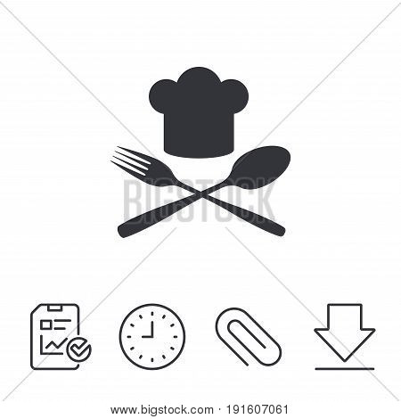 Chef hat sign icon. Cooking symbol. Cooks hat with fork and spoon. Report, Time and Download line signs. Paper Clip linear icon. Vector