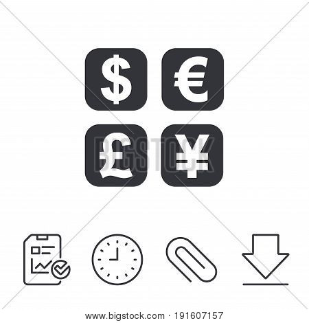 Currency exchange sign icon. Currency converter symbol. Money label. Report, Time and Download line signs. Paper Clip linear icon. Vector