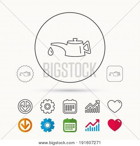 Motor oil icon. Fuel can with drop sign. Calendar, Graph chart and Cogwheel signs. Download and Heart love linear web icons. Vector
