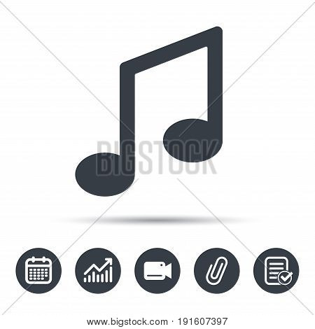 Music icon. Musical note sign. Melody symbol. Calendar, chart and checklist signs. Video camera and attach clip web icons. Vector