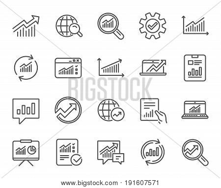 Analysis, Statistics line icons. Set of Charts, Reports and Graphs signs. Data, Presentation and Communication speech bubbles. Global Statistics, hold Document and Checklist. Quality design elements