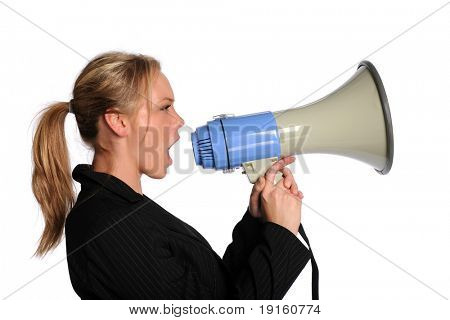 Young businesswoman screaming with a megaphone isolated on a white background